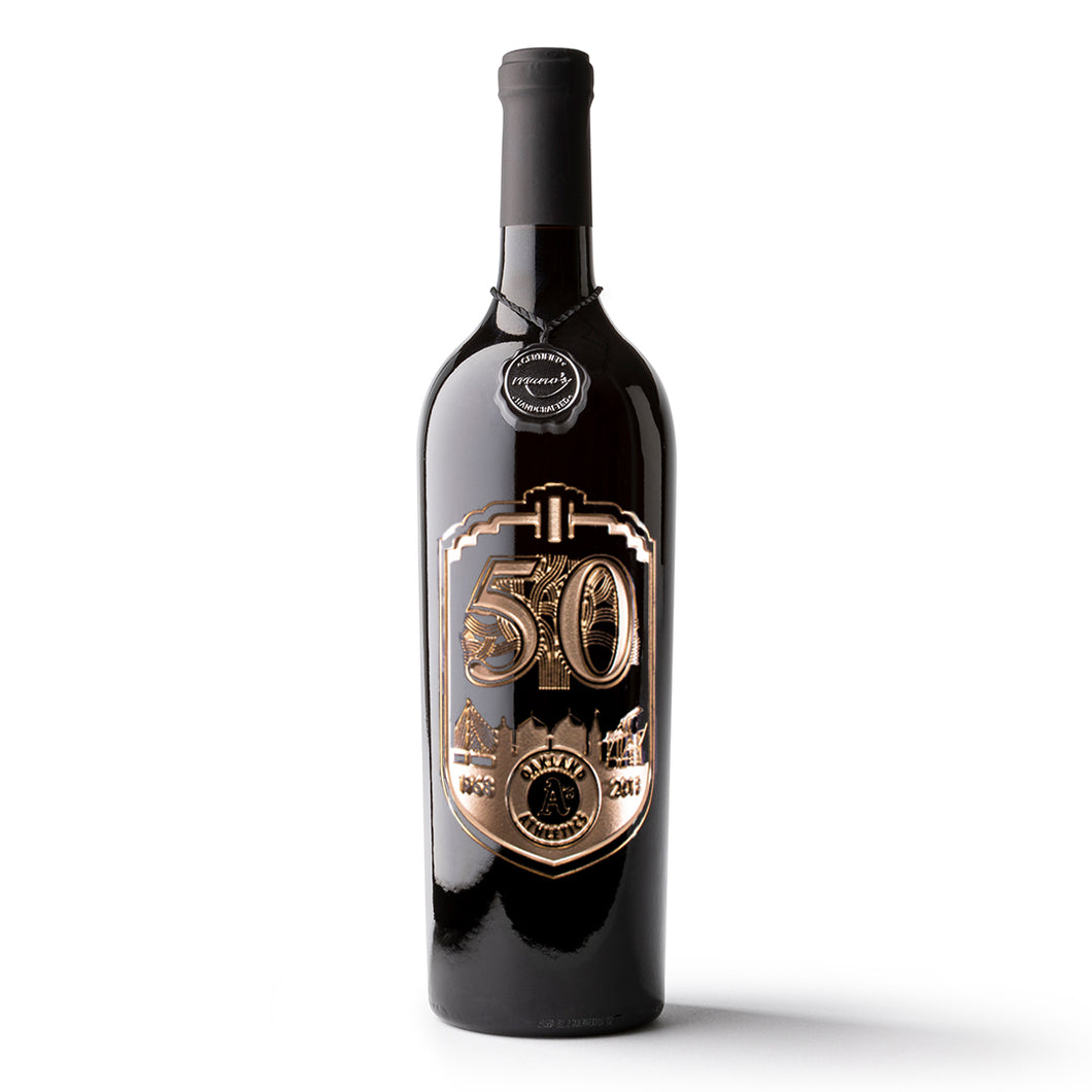 Oakland A's 50th Anniversary Etched Wine