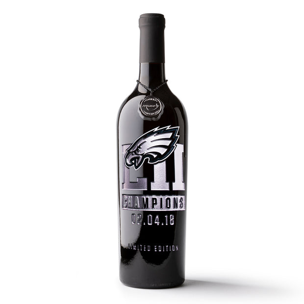 Philadelphia Eagles World Champions Etched Wine