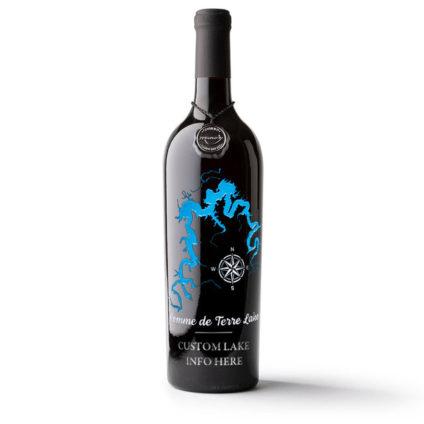 Pomme de Terre Lake Custom Etched Wine