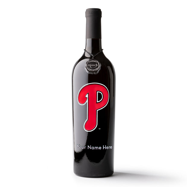 Philadelphia Phillies™ Logo Custom Name Etched Wine Bottle