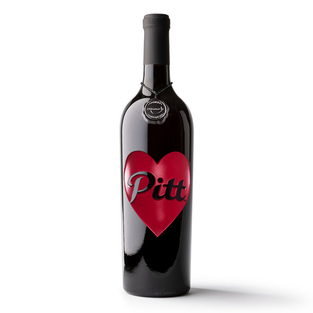 Pittsburg State University Heart Etched Wine Bottle