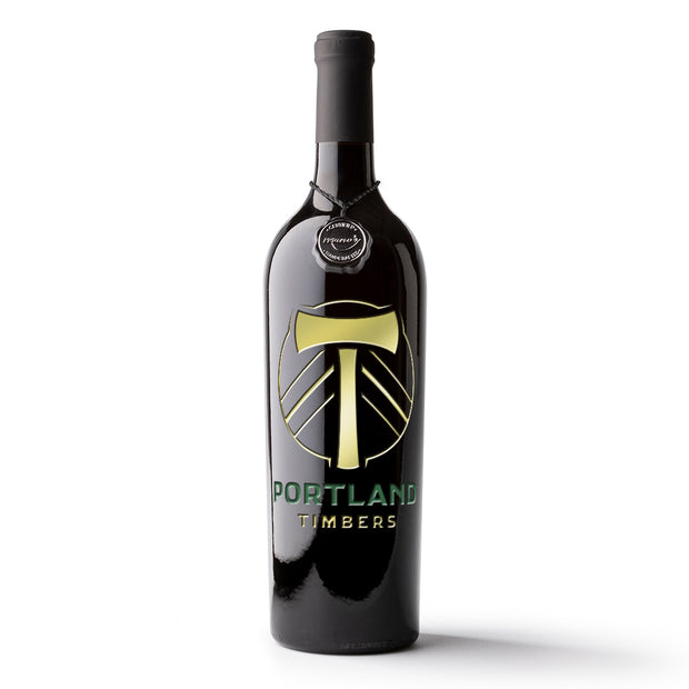 Portland Timbers Logo Etched Wine