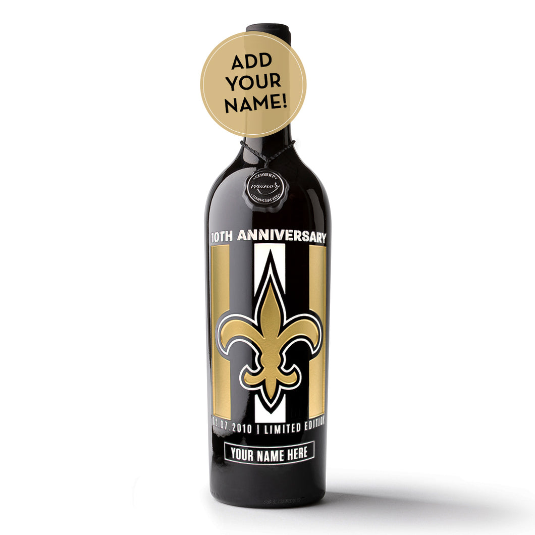 Saints 10th Anniversary Custom Name Etched Wine