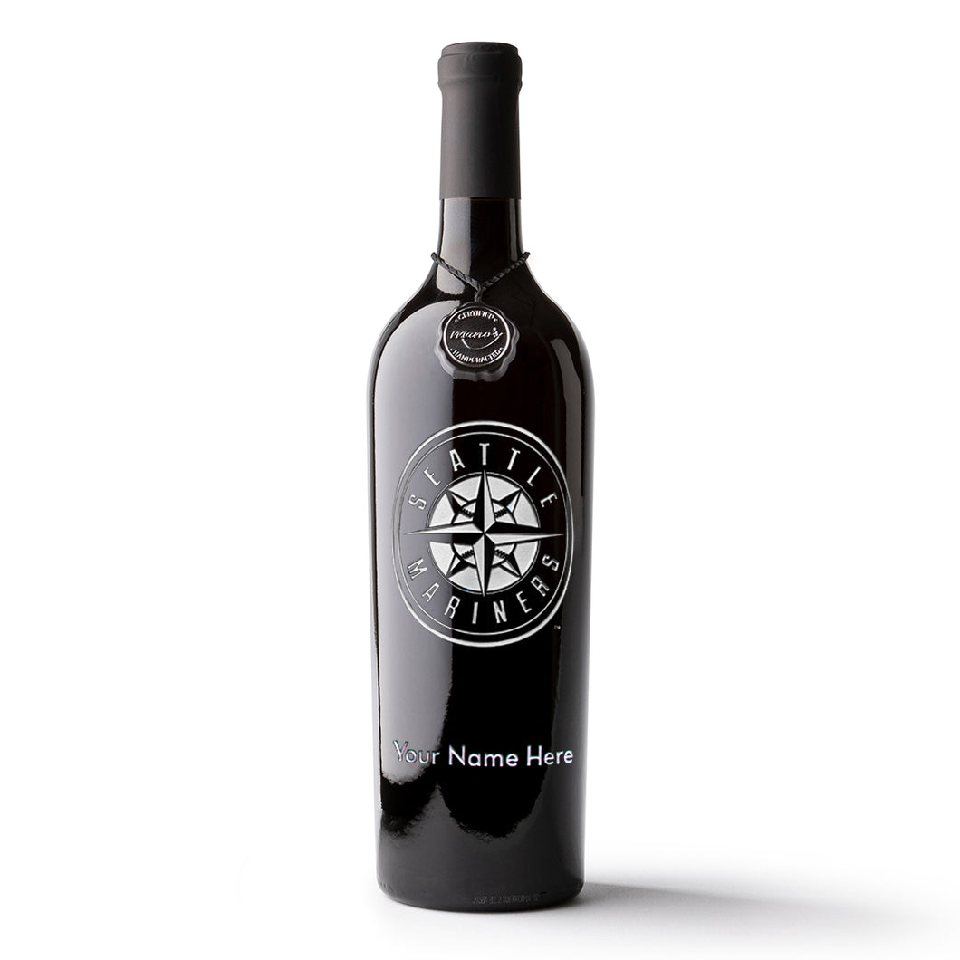 Seattle Mariners™ Logo Custom Name Etched Wine Bottle