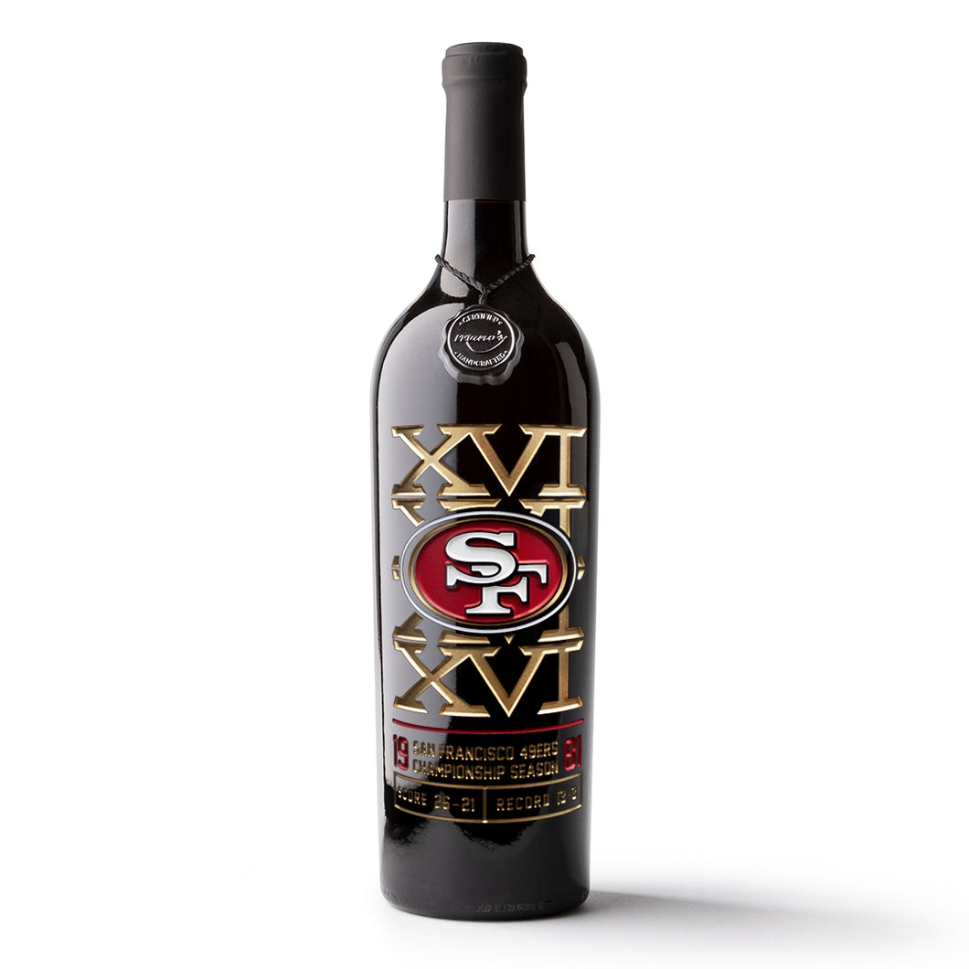49ers 1981 Championship Season Etched Wine