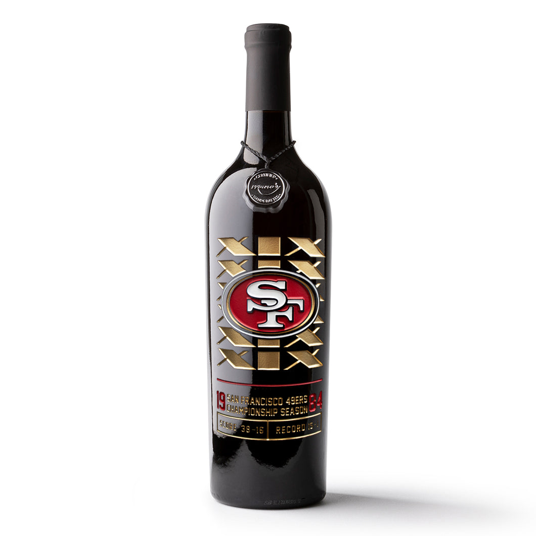 49ers 1984 Championship Season Etched Wine