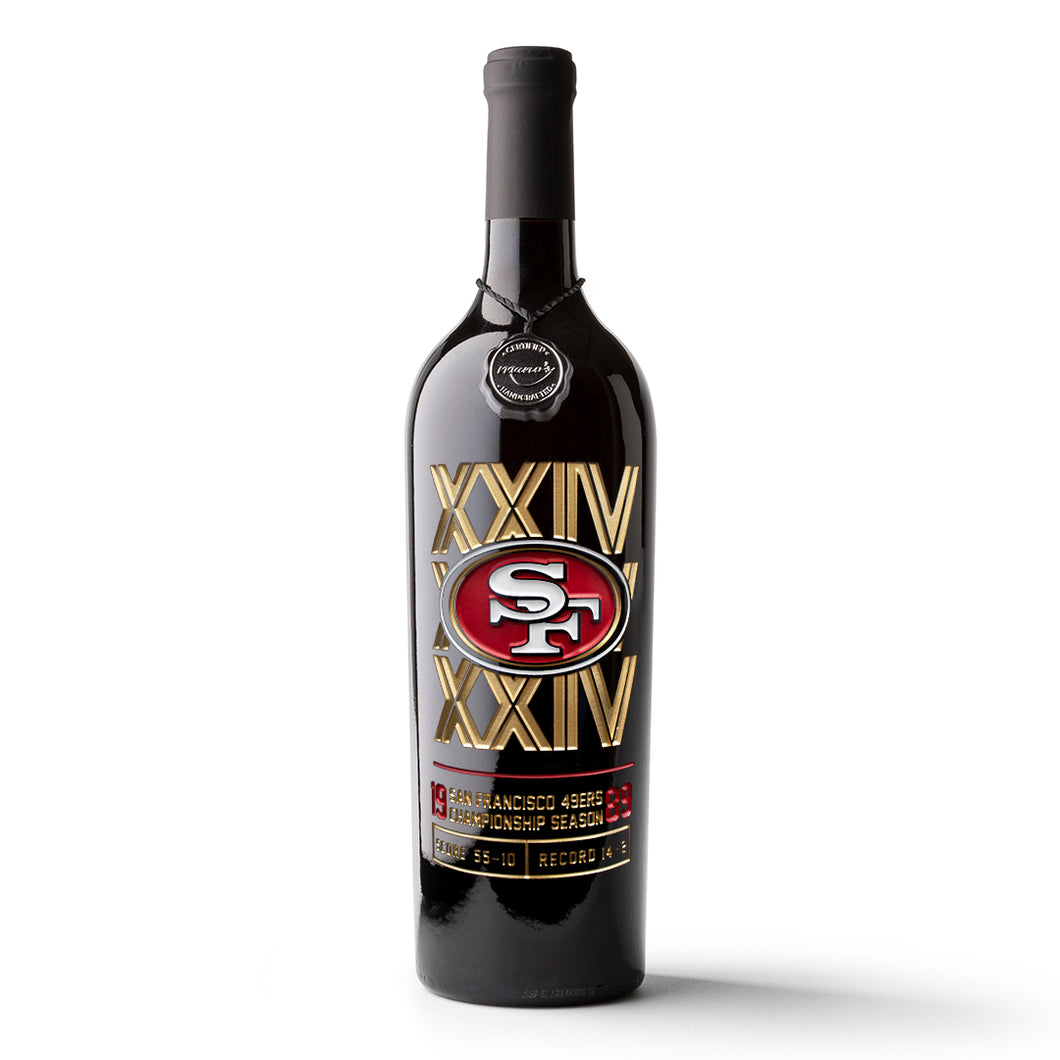 49ers 1989 Championship Season Etched Wine