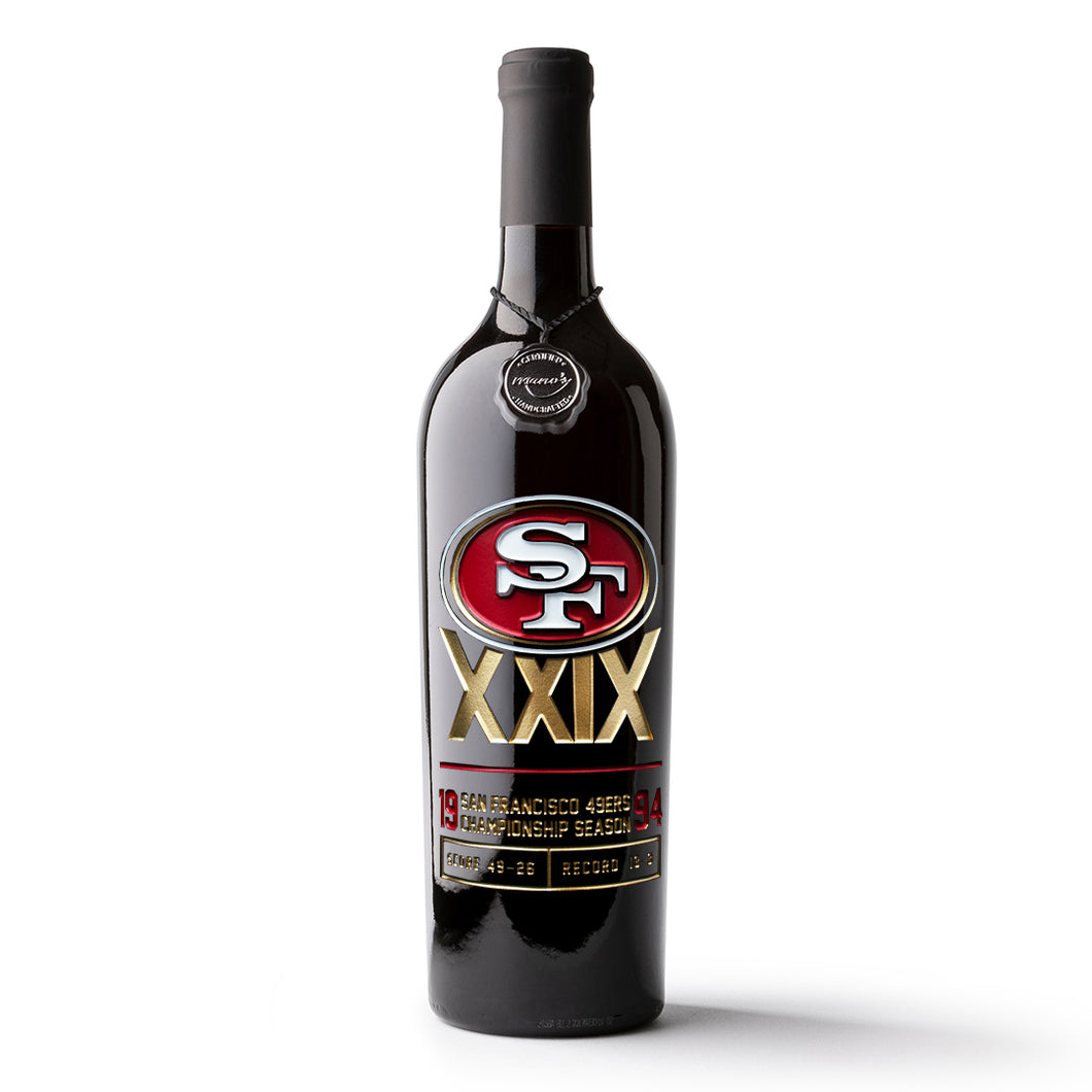 49ers 1994 Championship Season Etched Wine