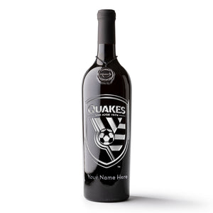 San Jose Earthquakes Logo Custom Name Etched Wine