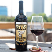 STL Blues 2019 Champions Custom Name Etched Wine