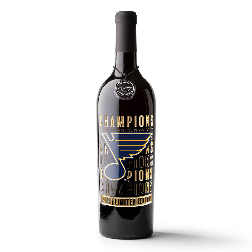 STL Blues 2019 Champions Etched Wine