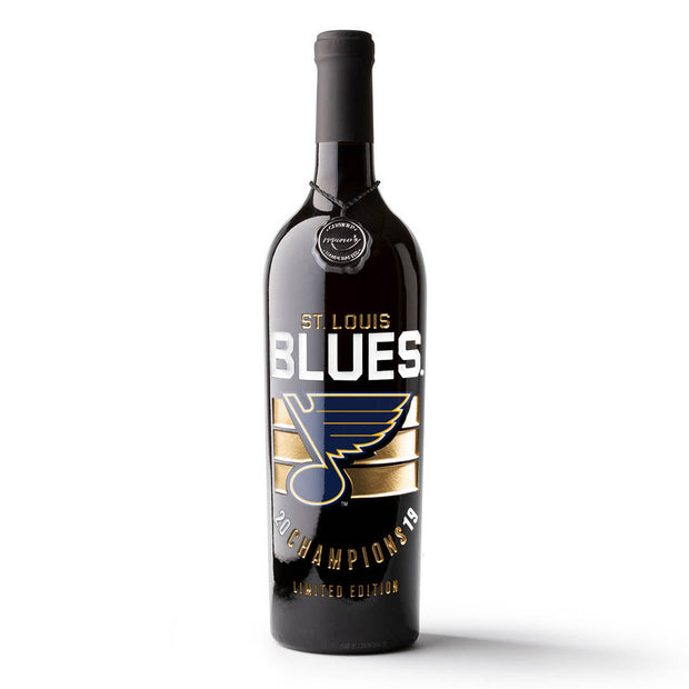 STL Blues 2019 Champions Stripes Etched Wine