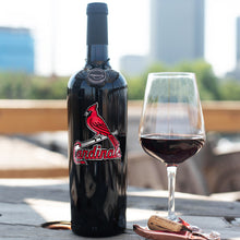 Load image into Gallery viewer, St. Louis Cardinals™ Etched Wine Bottle