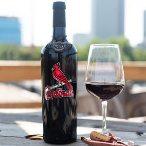 St. Louis Cardinals™ Etched Wine Bottle