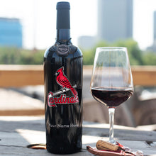 Load image into Gallery viewer, St. Louis Cardinals™ Logo Custom Name Etched Wine Bottle