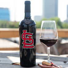 Load image into Gallery viewer, St. Louis Cardinals™ Logo Etched Wine Bottle
