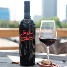 Load image into Gallery viewer, St. Louis Cardinals™ Script Logo Etched Wine Bottle