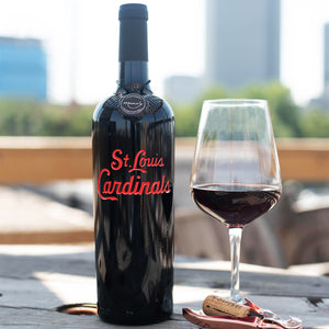 St. Louis Cardinals™ Script Logo Etched Wine Bottle