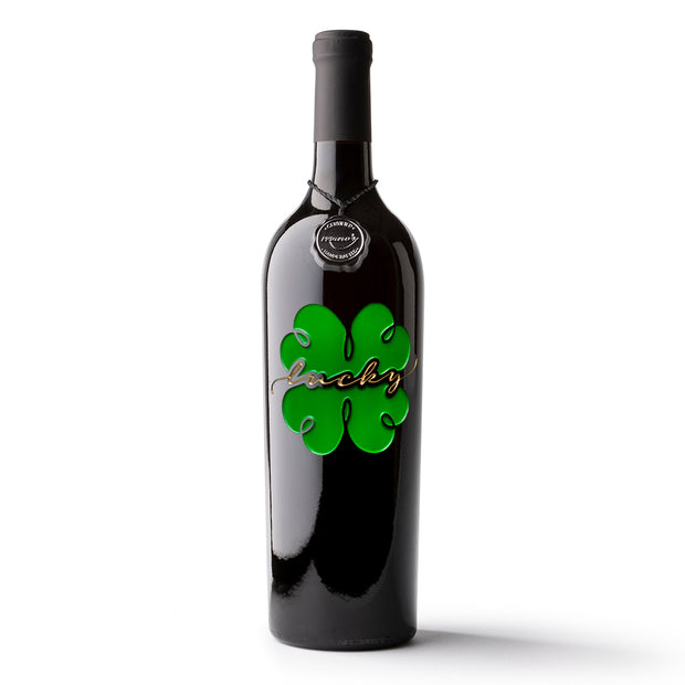 St. Patricks Lucky Four Leaf Clover Etched Wine