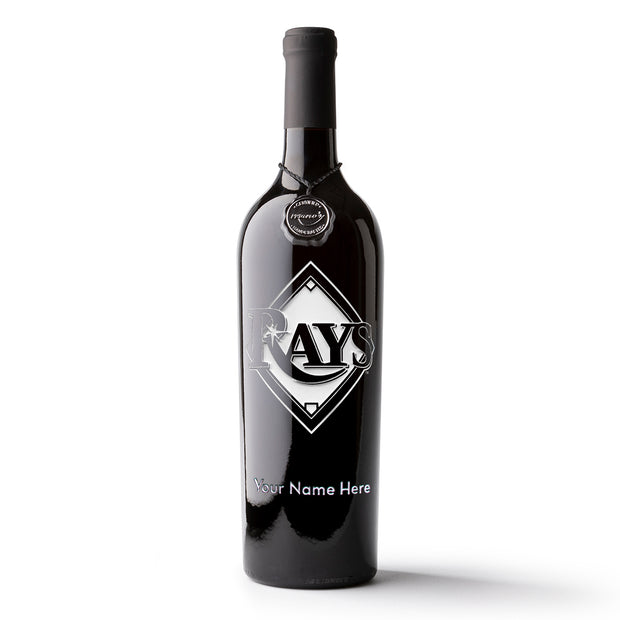 Tampa Bay Rays™ Logo Custom Name Etched Wine Bottle