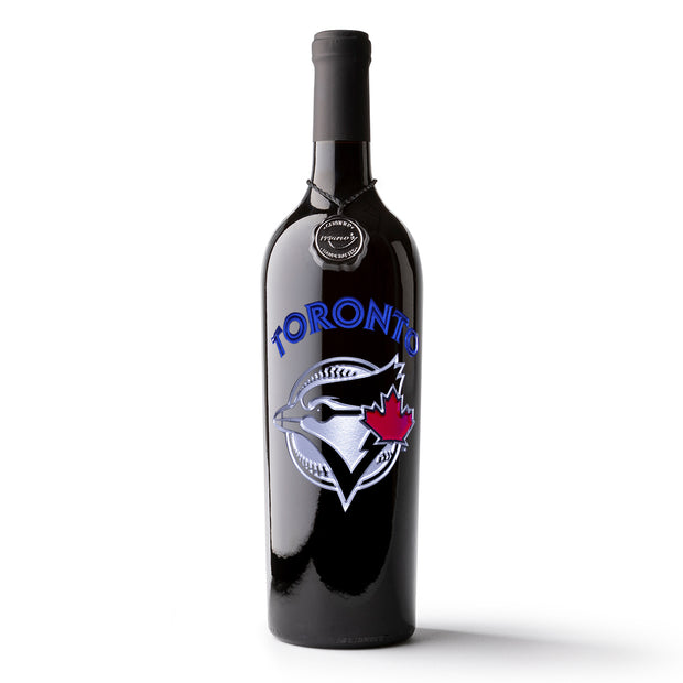 Toronto Blue Jays™ Logo Etched Wine Bottle