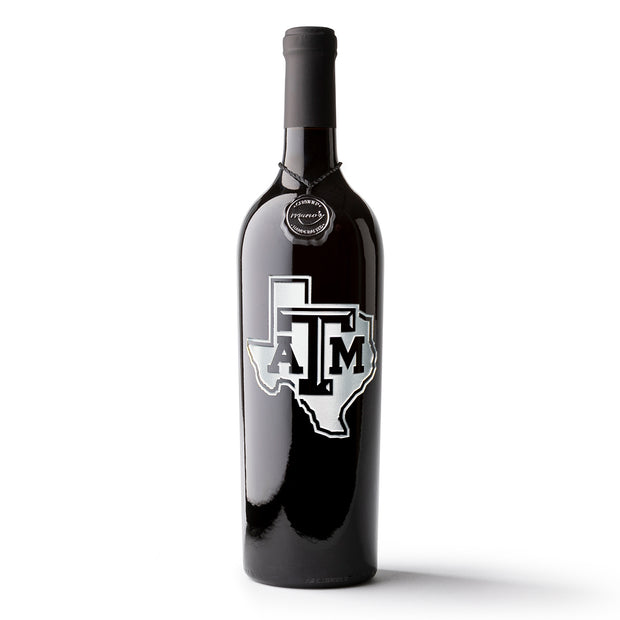 Texas A&M Lonestar Logo Etched Wine