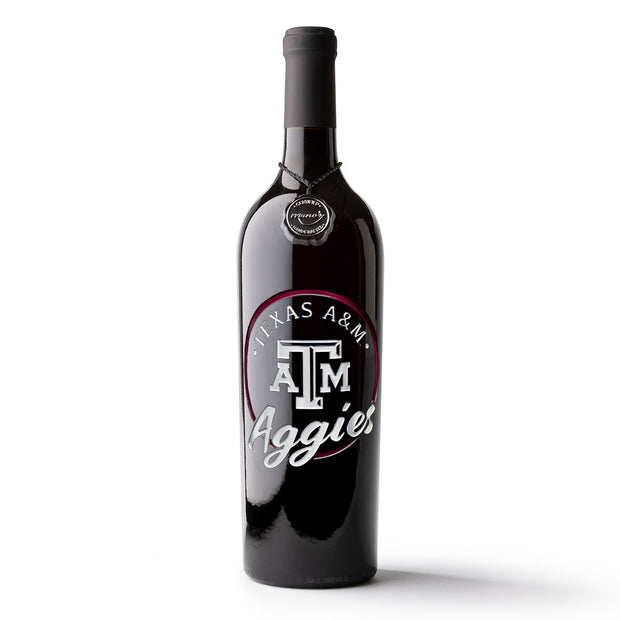 Texas A&M Aggies Circle Etched Wine