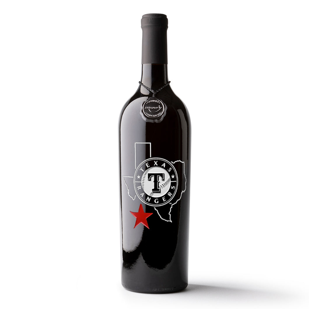 Texas Rangers™ Etched Outline Wine Bottle