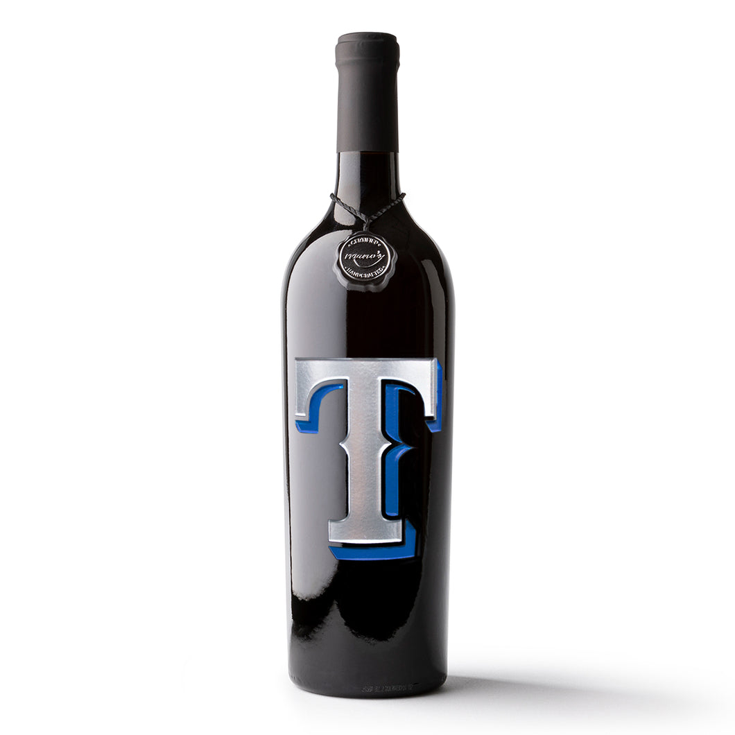 Texas Rangers™ T Logo Etched Wine Bottle
