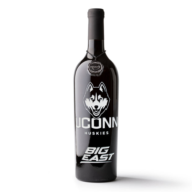UCONN BIG EAST Etched Wine