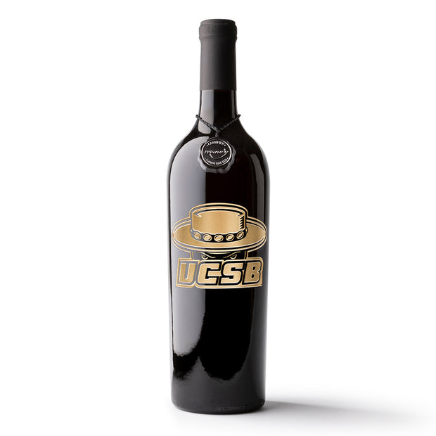 UC Santa Barbara Logo Etched Wine