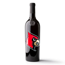Load image into Gallery viewer, University of Louisville Cardinals Logo Etched Wine Bottle
