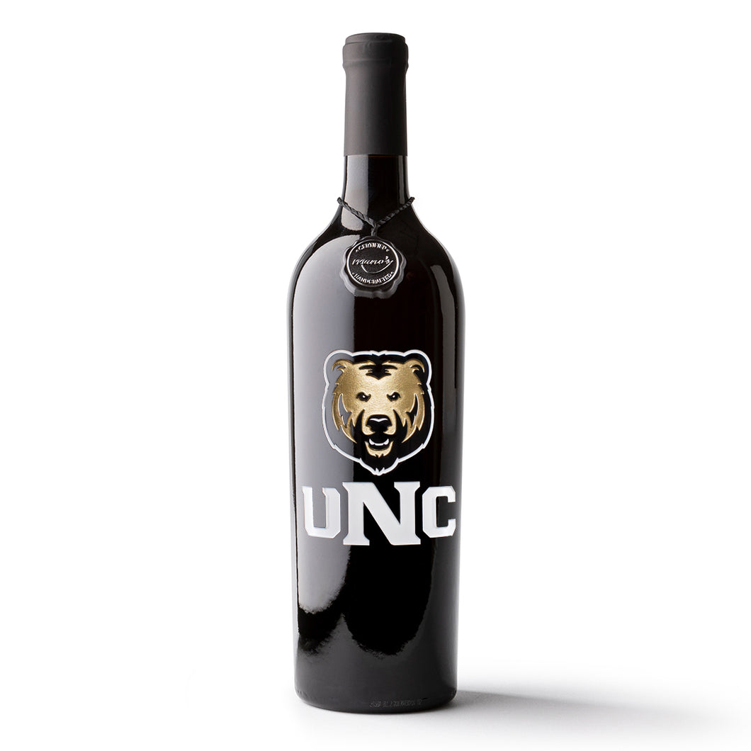 University of Northern Colorado Etched Wine Bottle