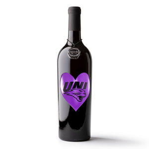 University of Northern Iowa Heart Etched Wine Bottle