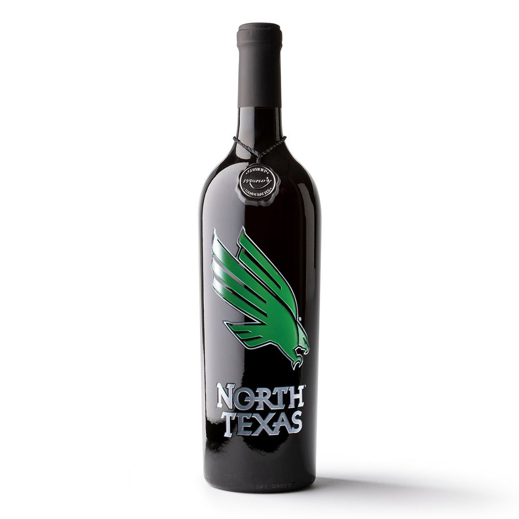 University of North Texas Etched Wine Bottle