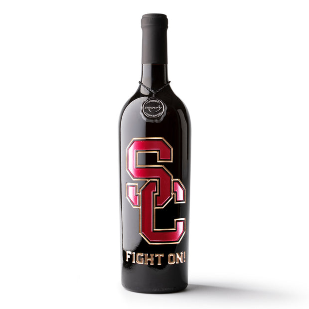 USC Fight On! Etched Wine