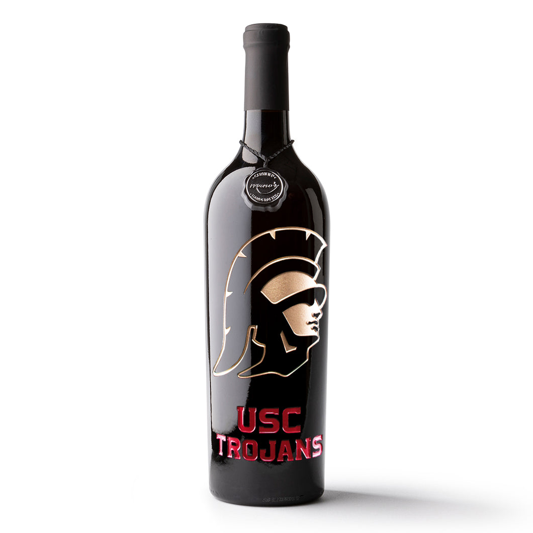 USC Trojans Etched Wine