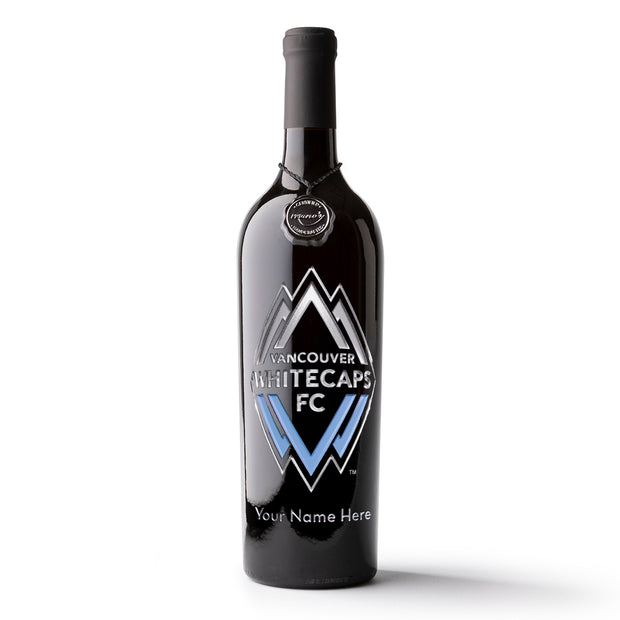 Vancouver Whitecaps FC Logo Custom Name Etched Wine