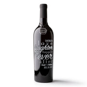 Wedding Love Laughter Custom Etched Wine Bottle