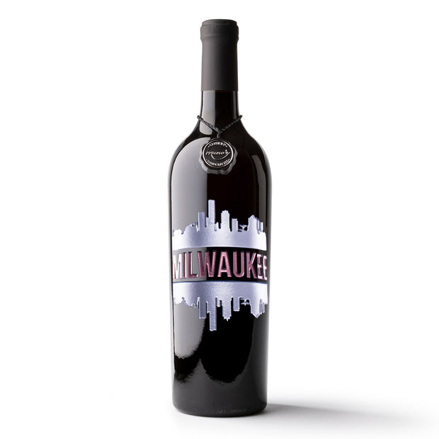 Milwaukee Skyline Etched Wine Bottle