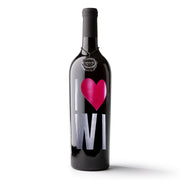 I Heart Wisconsin Etched Wine Bottle