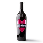 Heart Madison Etched Wine Bottle
