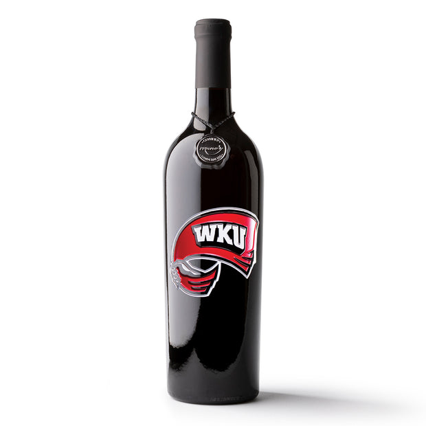 Western Kentucky University Logo Etched Wine Bottle