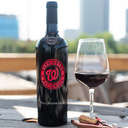 Washington Nationals™ Logo Custom Name Etched Wine Bottle