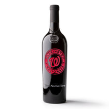 Load image into Gallery viewer, Washington Nationals™ Logo Custom Name Etched Wine Bottle