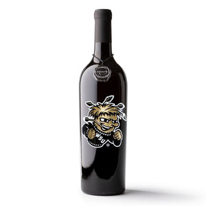 Wichita State University WuShock Etched Wine Bottle