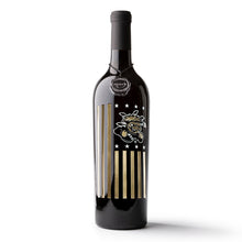 Load image into Gallery viewer, Wichita State University Flag Etched Wine Bottle