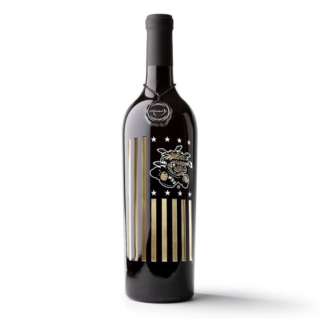Wichita State University Flag Etched Wine Bottle