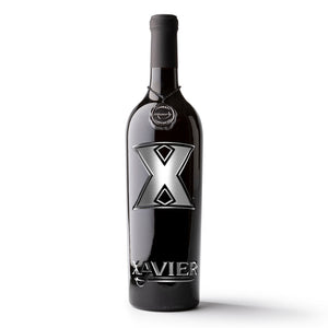 Xavier University Logos Etched Wine Bottle