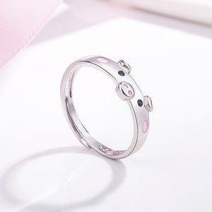 Cute Pink Enamel Pig Rings Popular Lucky